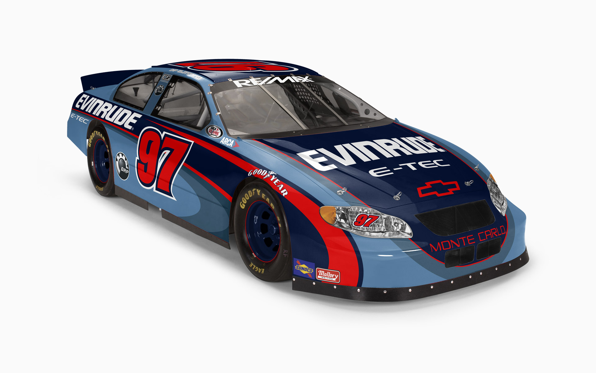 Cyberspeed Racing BRP Evinrude Chevy Monte Carlo ARCA Livery Visualization