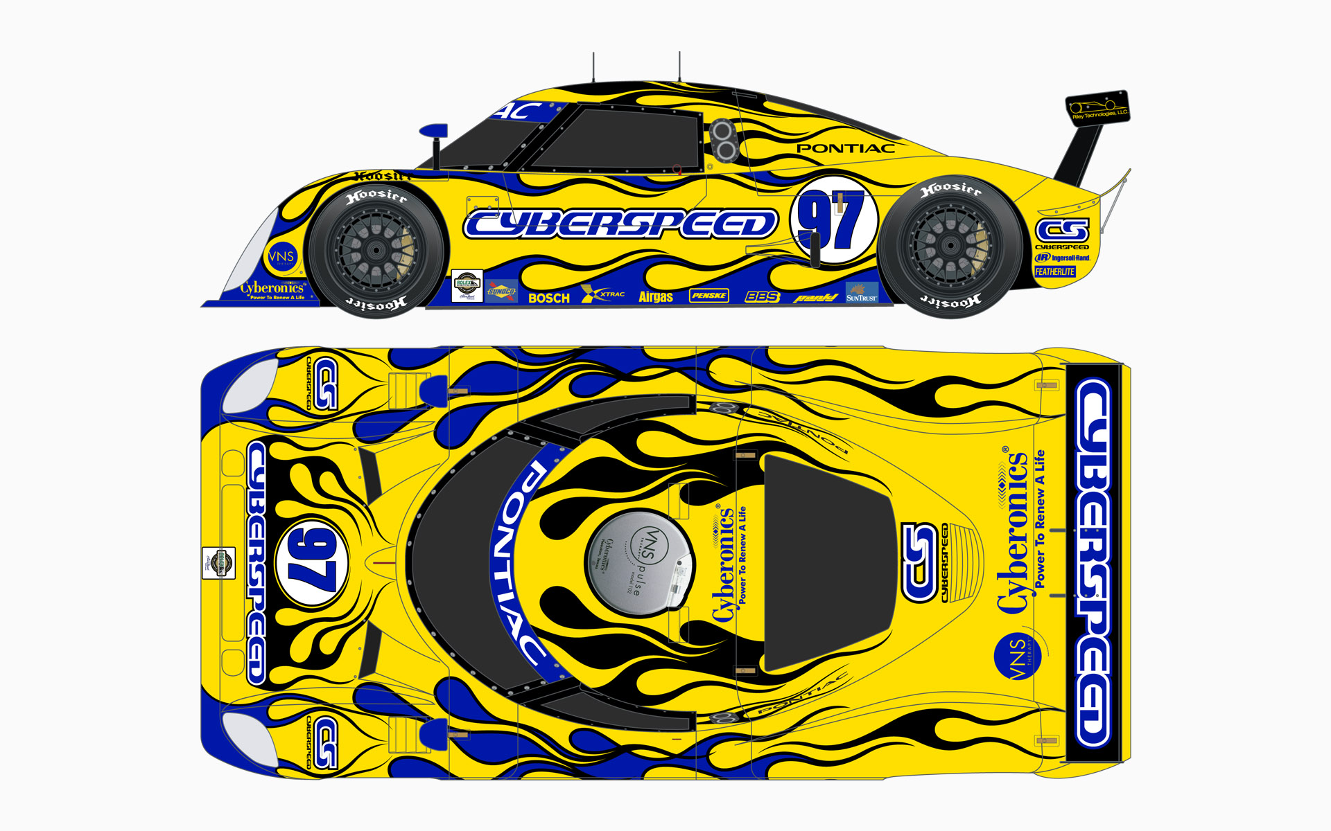 Cyberspeed Racing Riley MKXI Daytona Prototype Livery Elevations