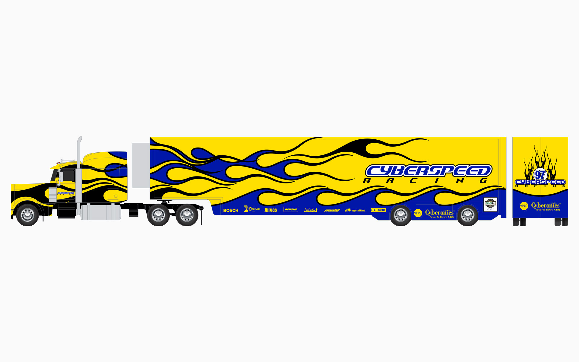 Cyberspeed Racing Transporter Livery Elevations