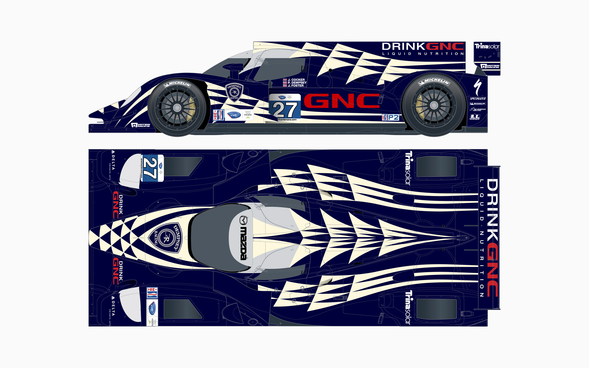 2012 Dempsey Racing Lola B12/80 LMP2 Livery Elevations