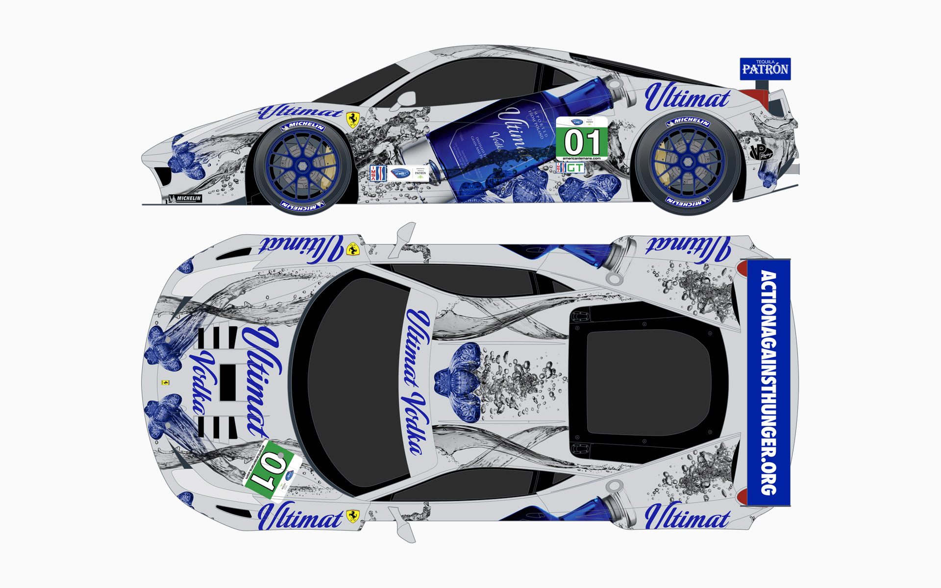 Extreme Speed Motorsports Ultimat Vodka Ferrari 458 GT Livery Elevations