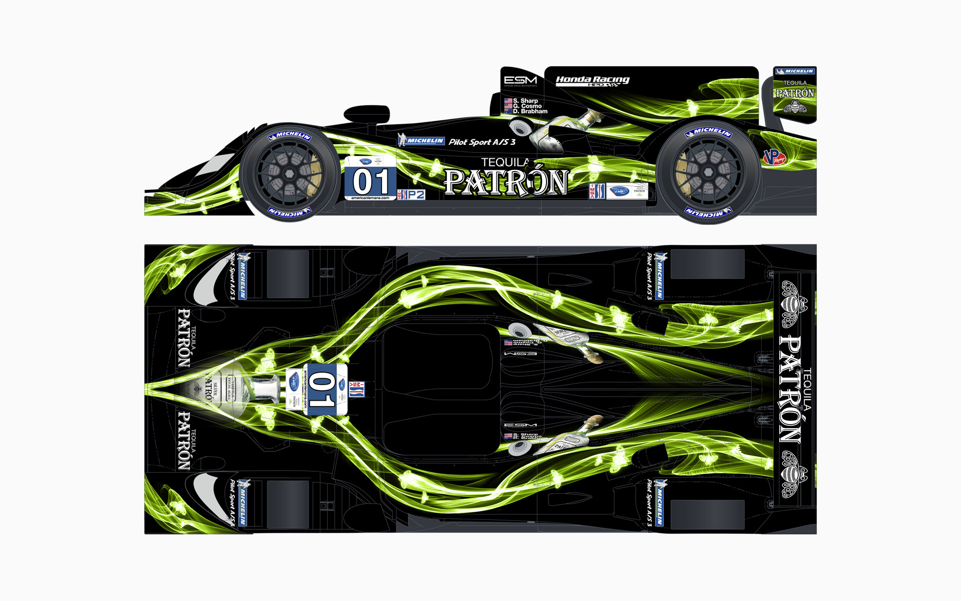 2013 Extreme Speed Motorsports Pátron HPD ARX-03b LMP2 Livery Elevations