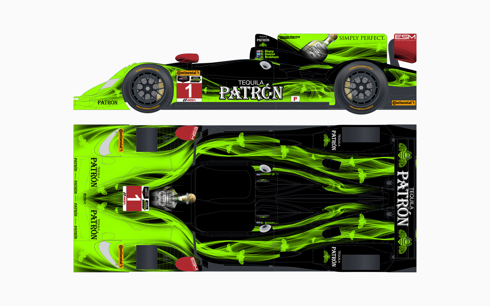 2014 Extreme Speed Motorsports Pátron HPD ARX-03b LMP2 Livery Elevations