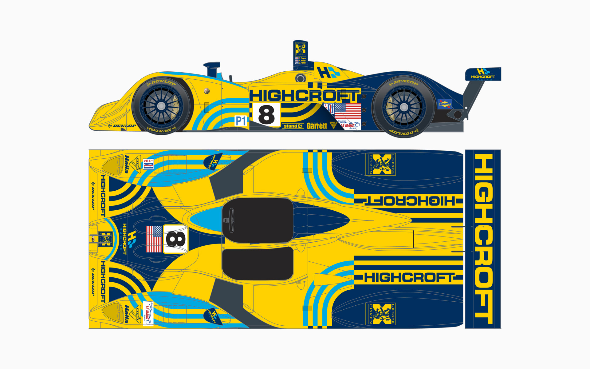 2006 Highcroft Racing Lola EX257 LMP1 Livery Elevations