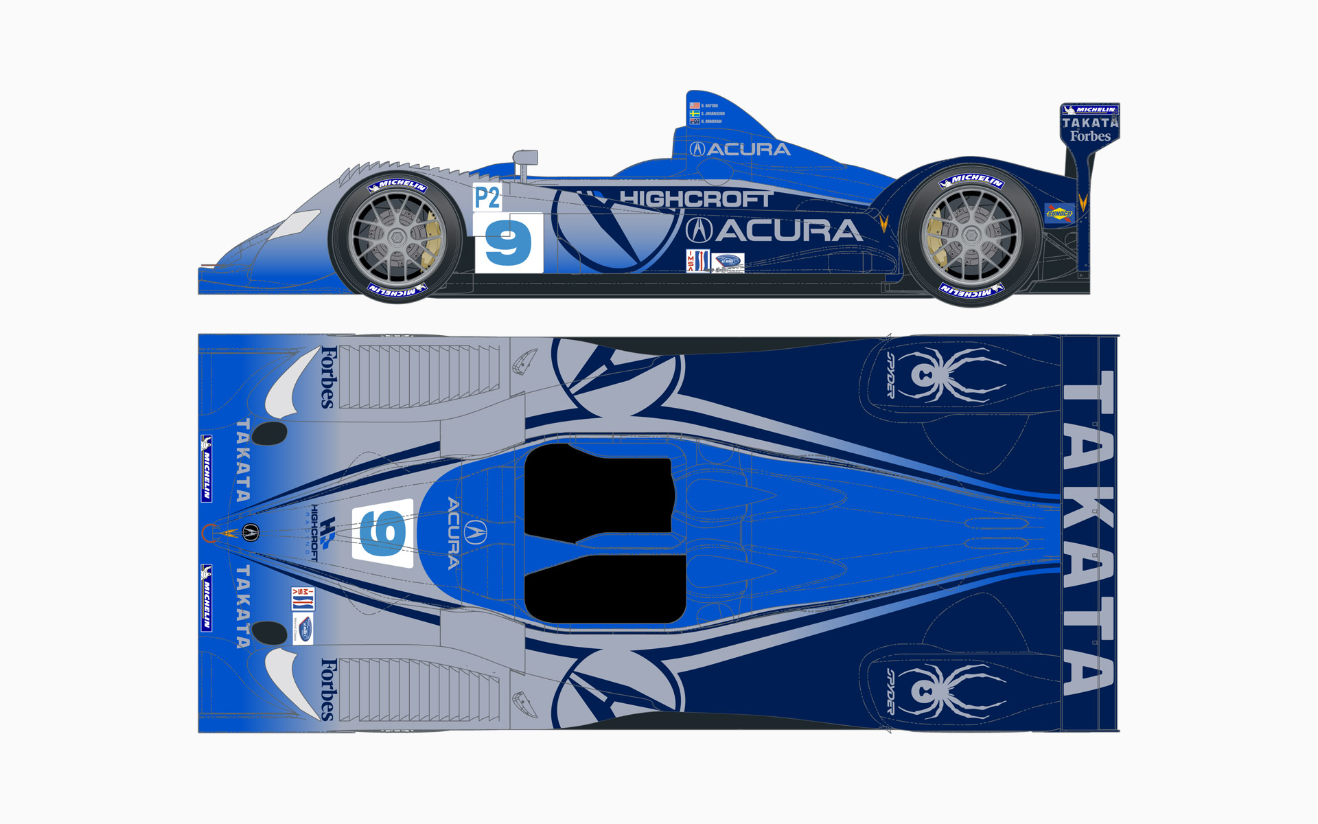 2007 Highcroft Racing Acura ARX-01a LMP2 Livery Elevations