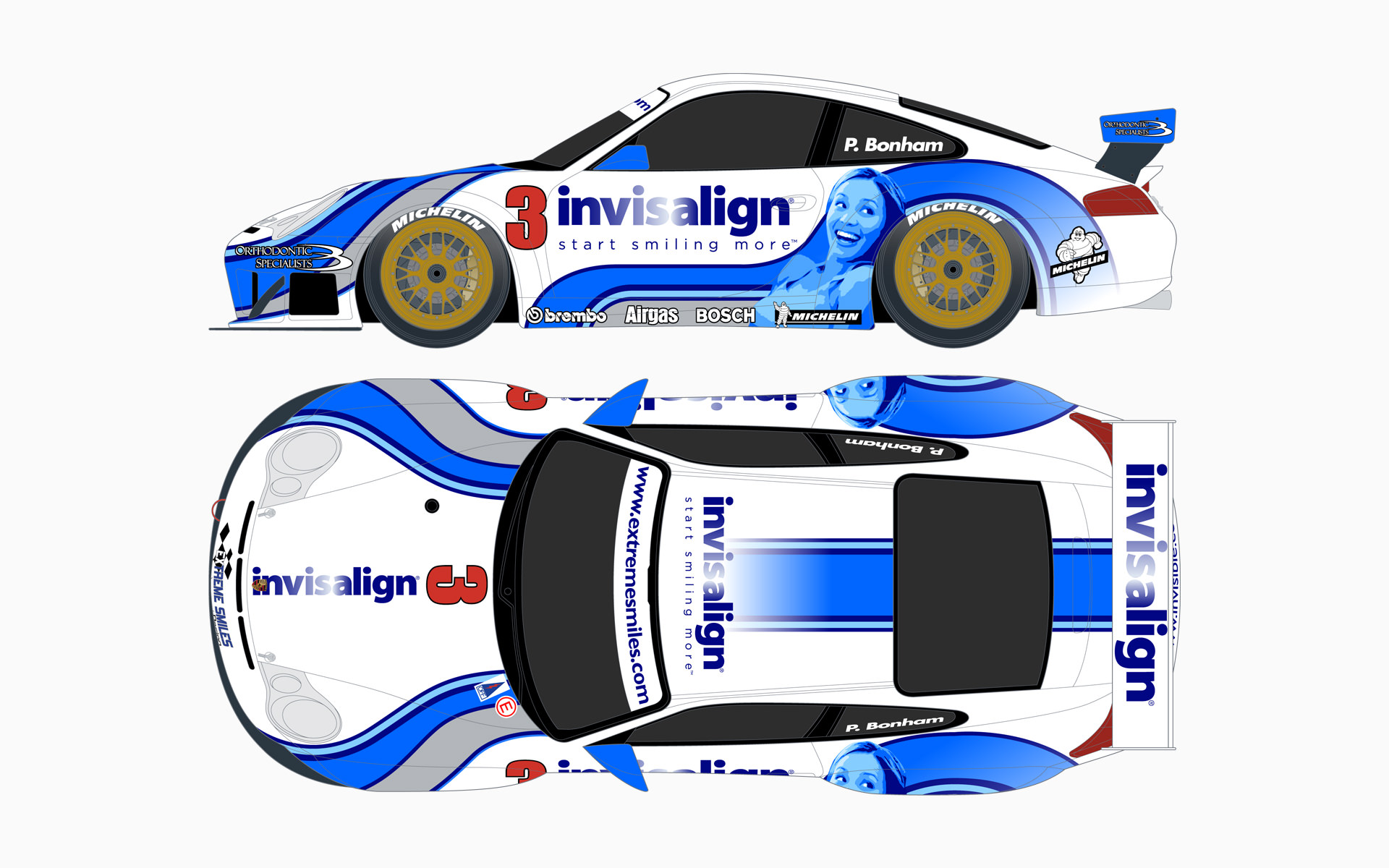 Invisalign Porsche 911 GT3RS Livery Elevations