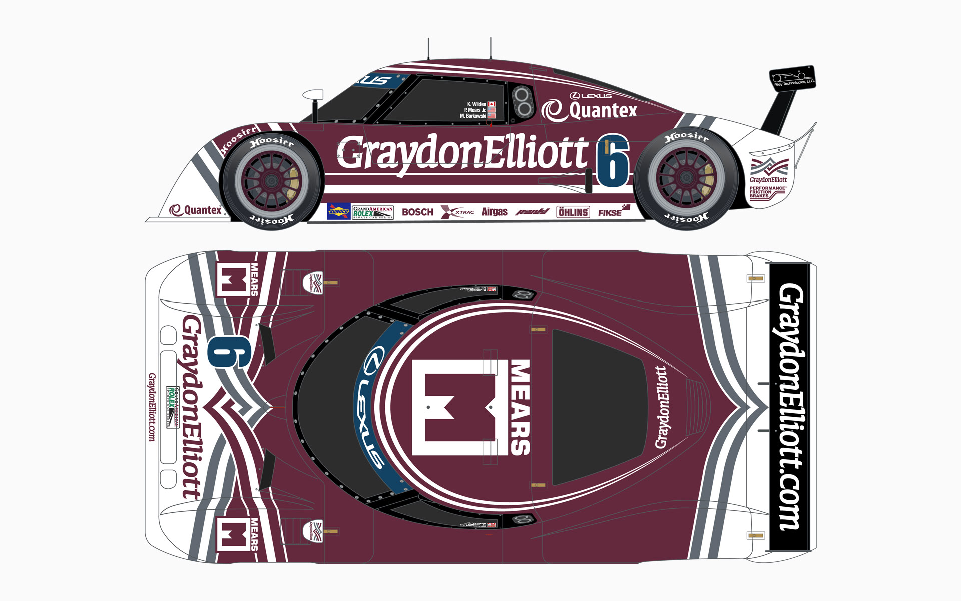 Michael Shank Racing Graydon Elliott Riley MKXI Daytona Prototype Livery Elevations