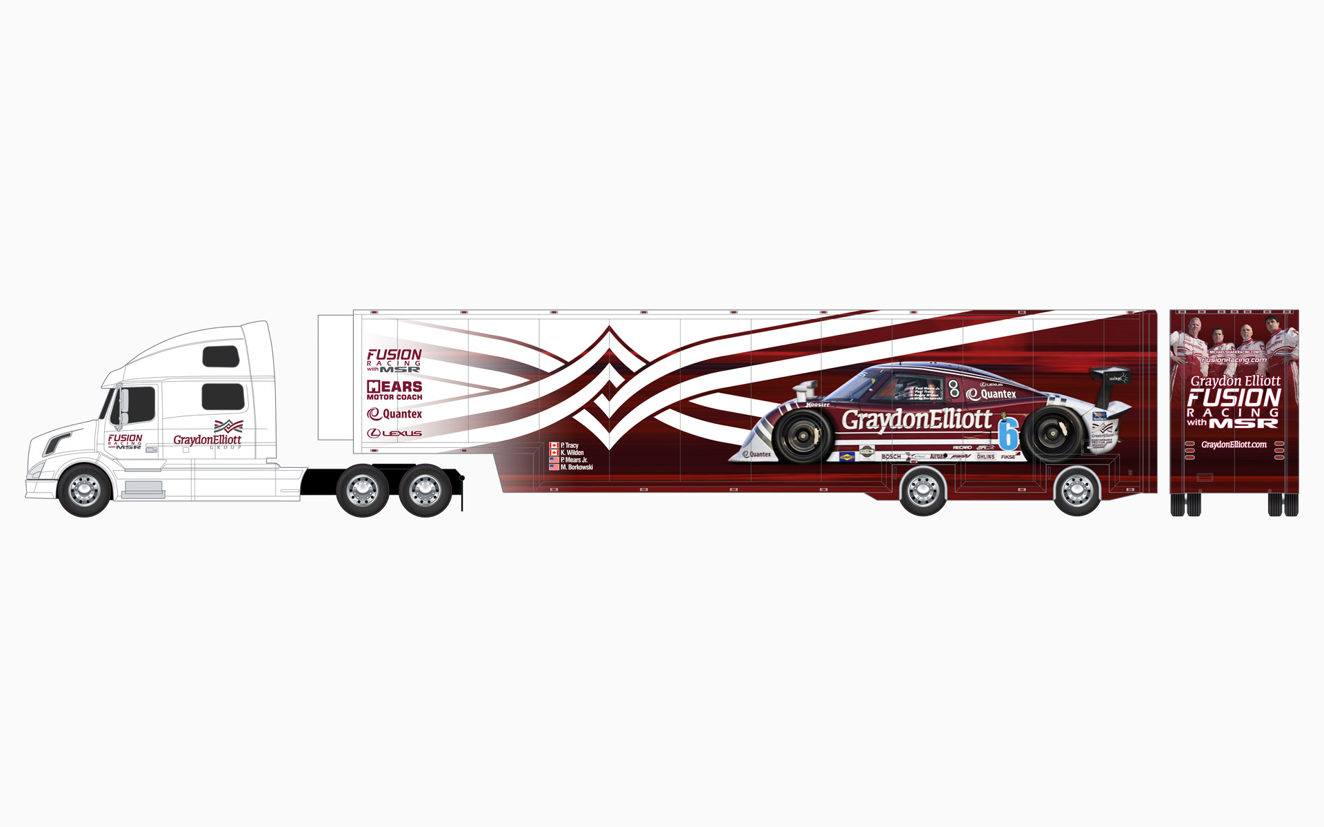 Michael Shank Racing Graydon Elliott Transporter Livery Elevations