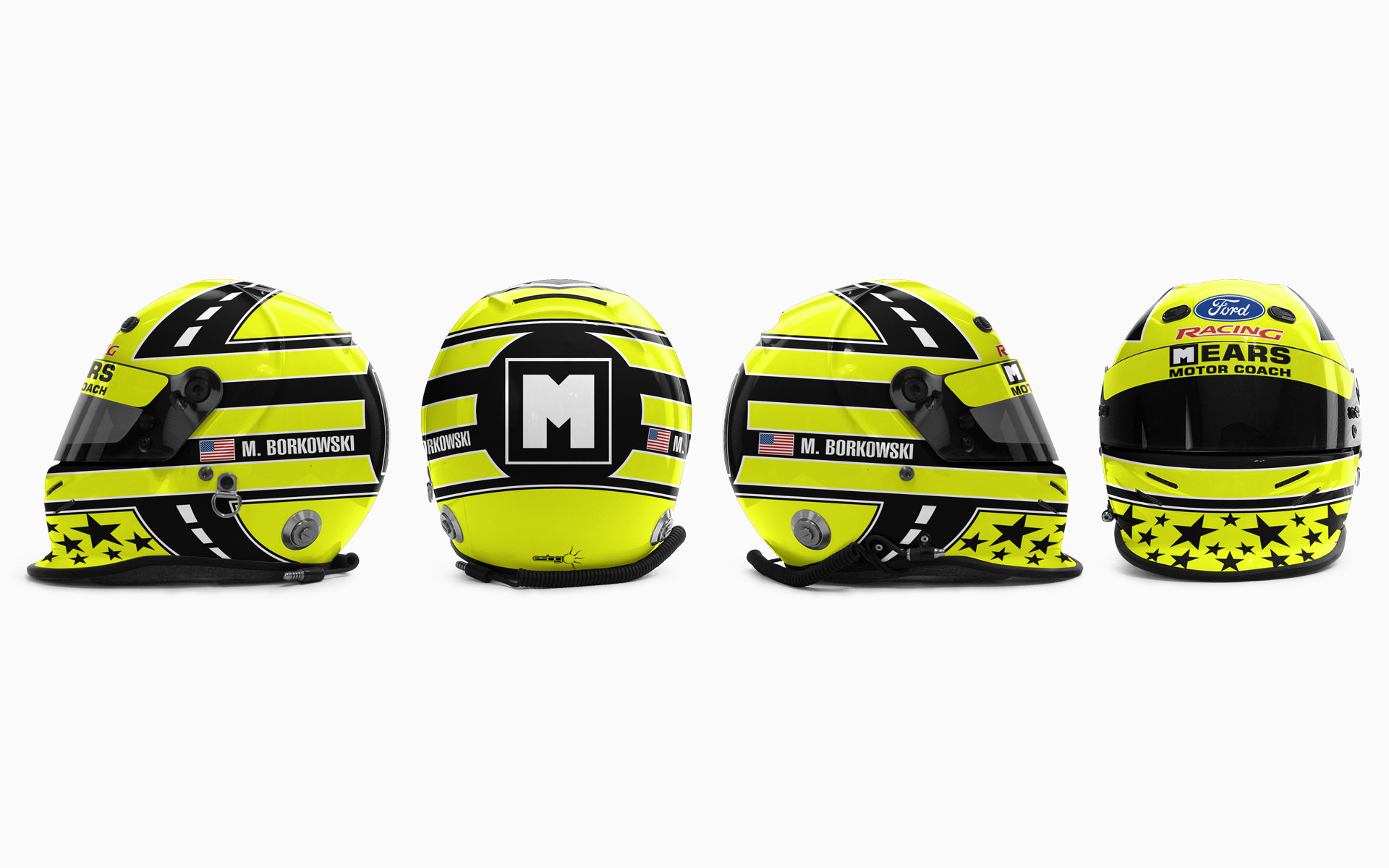 Mike Borkowski Mears Motor Coach Helmet Livery Visualization