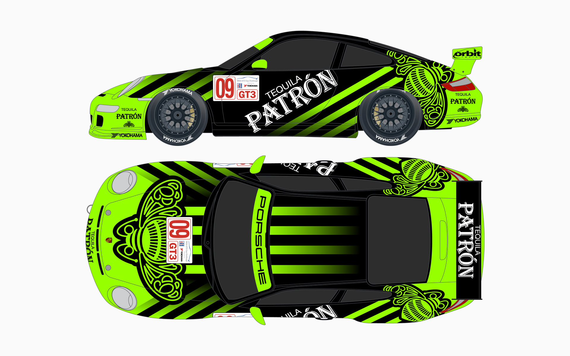 Orbit Racing Pátron Silver Porsche 911 GT3 Cup Livery Elevations