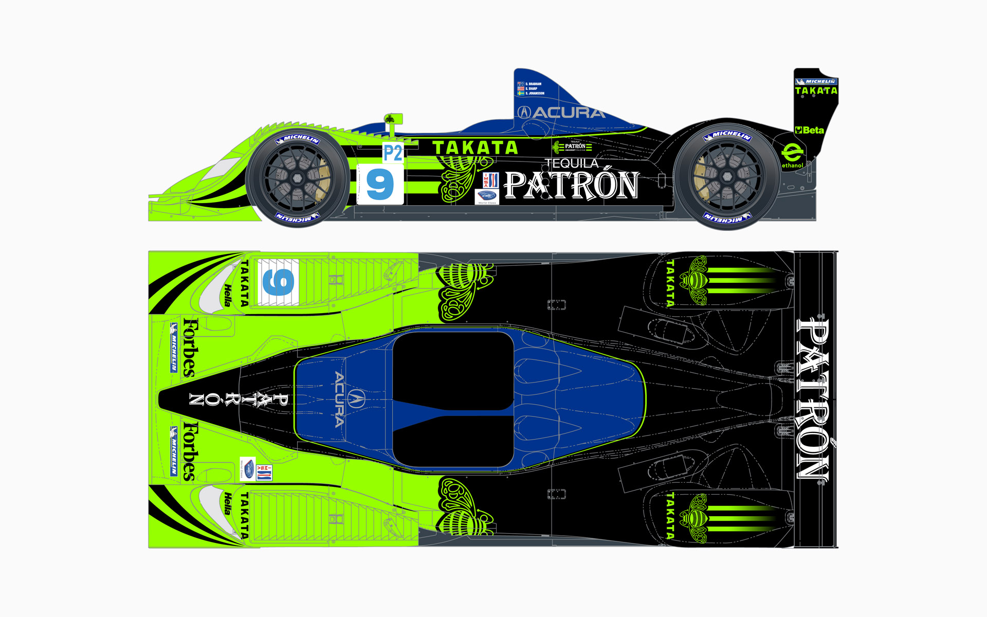 2008 Pátron Highcroft Racing Acura ARX-01b LMP2 Livery Elevations