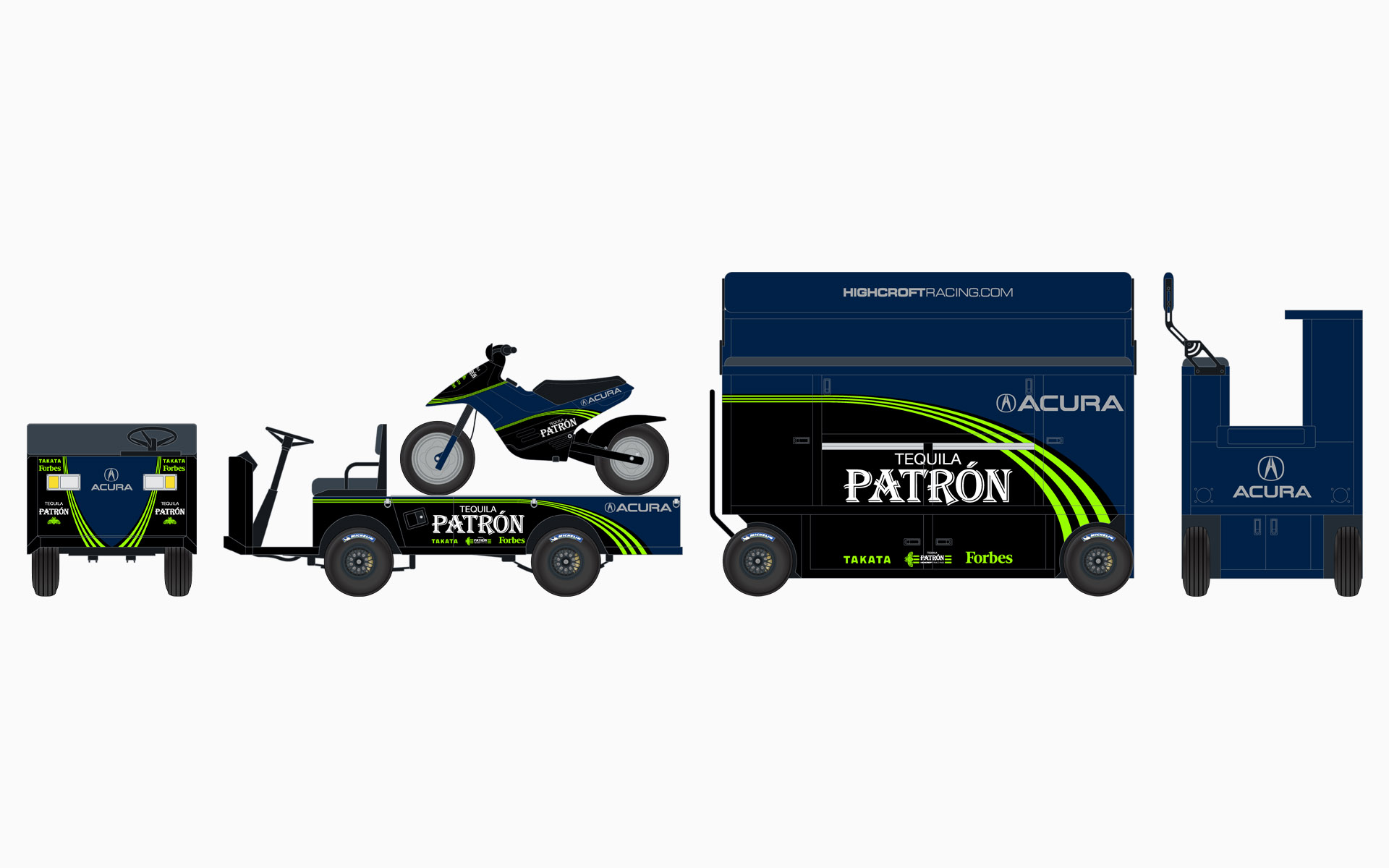 2008 Pátron Highcroft Racing Pit Equipment Livery Elevations