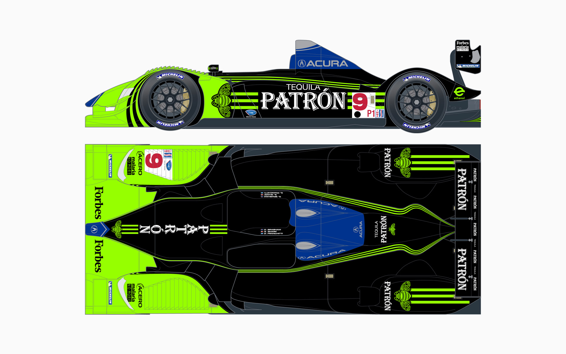 2009 Pátron Highcroft Racing Acura ARX-02a LMP1 Livery Elevations