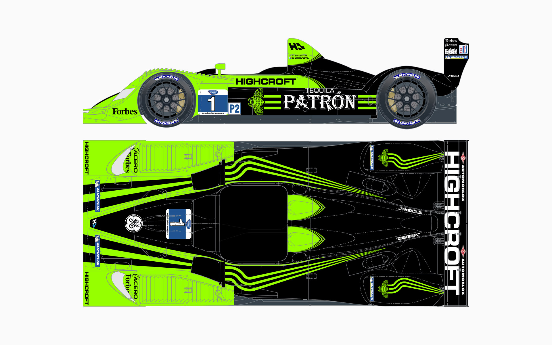 2010 Pátron Highcroft Racing HPD ARX-01c LMP2 Livery Elevations