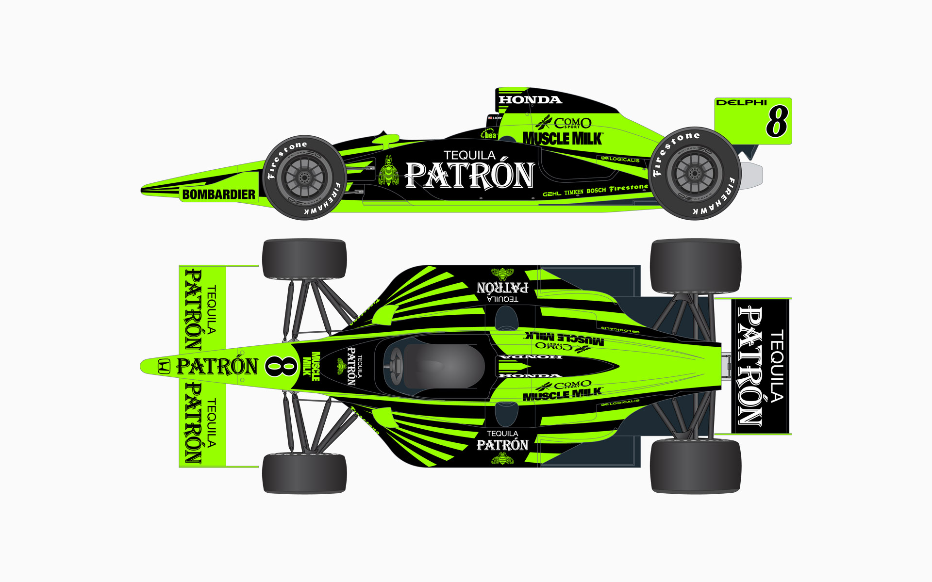 2007 Pátron Indy Racing Dallara Honda IndyCar Livery Elevations