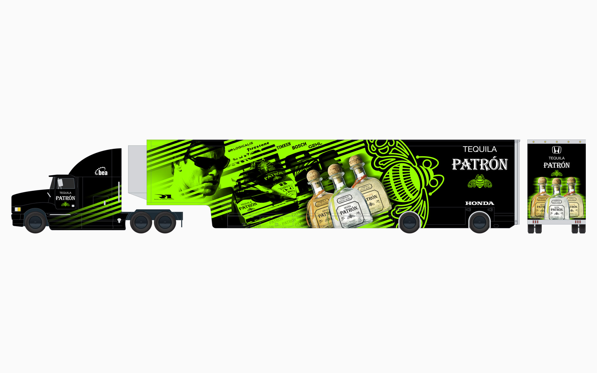 2007 Pátron Indy Racing Transporter Livery Elevations