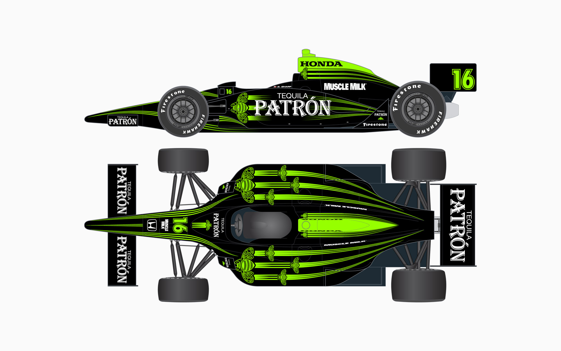 2009 Pátron Indy Racing Dallara Honda IndyCar Livery Elevations