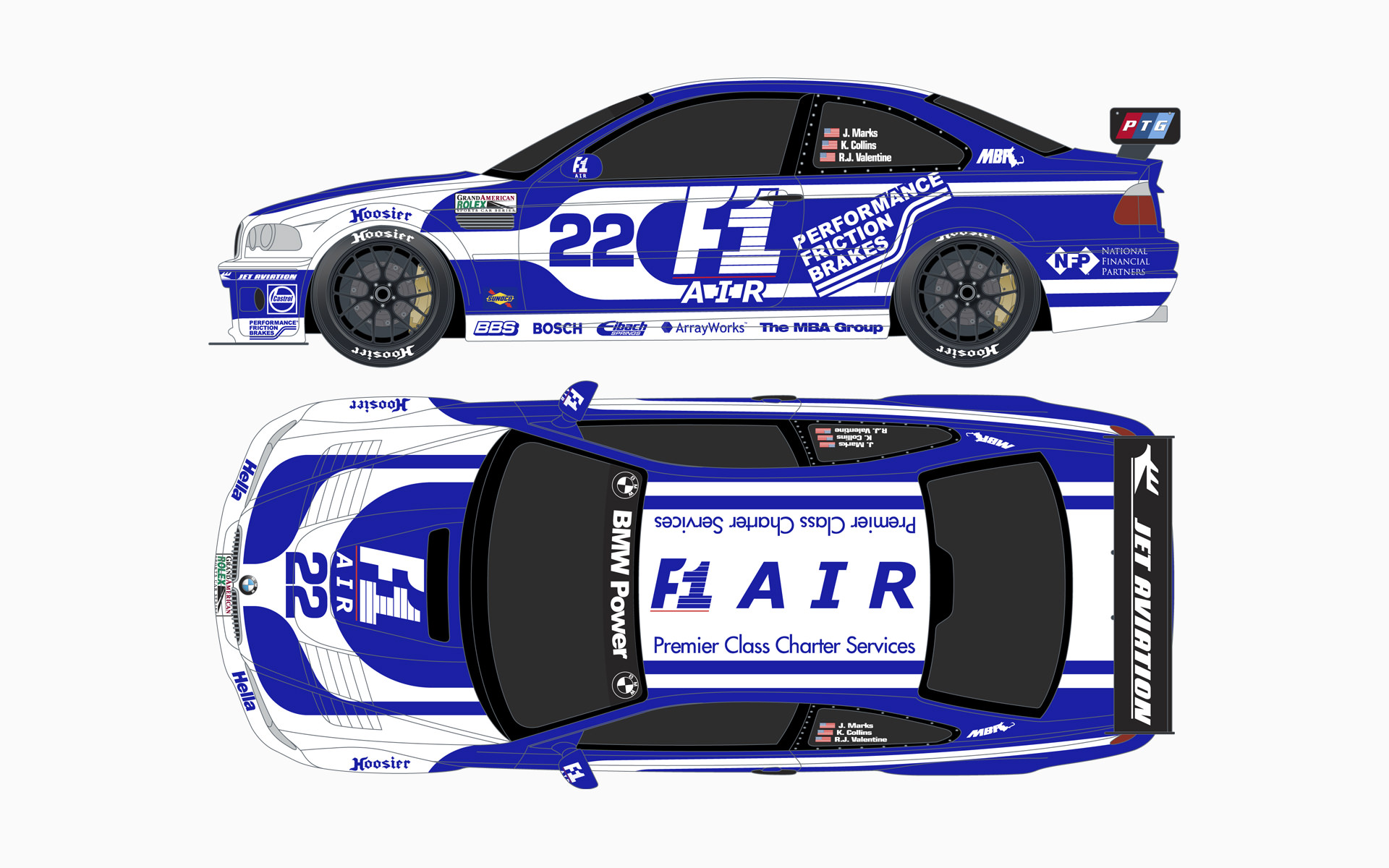 2005 PTG Racing F1-Air BMW M3 GTR Livery Elevations