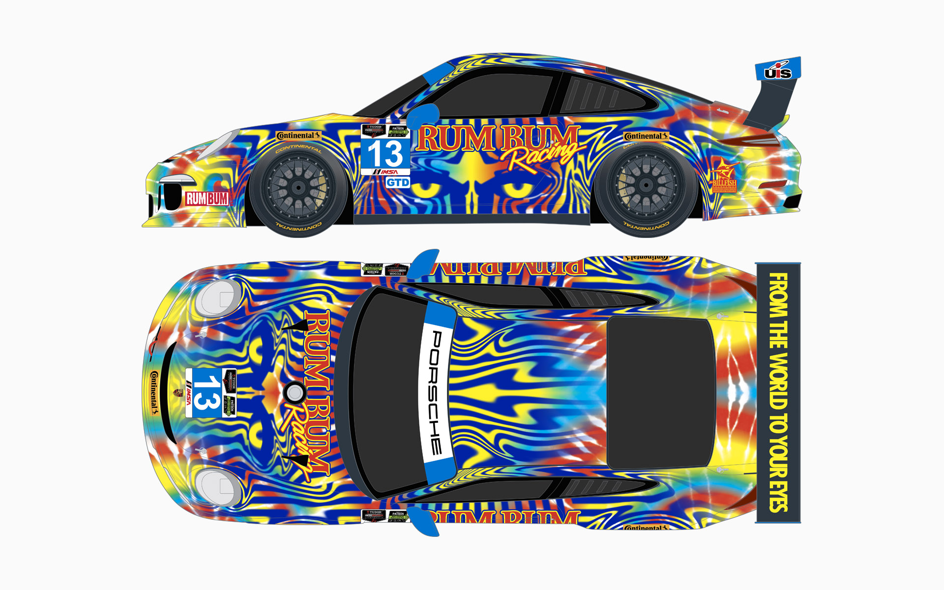 2014 Rum Bum Racing Porsche 911 GT America GTD Livery Elevations