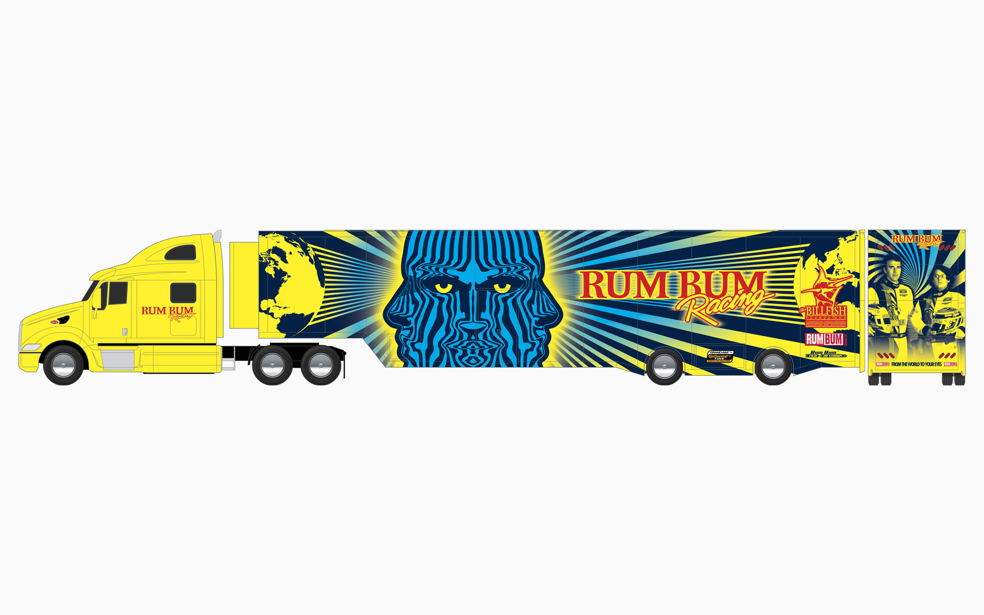 Rum Bum Racing Transporter Livery Elevations