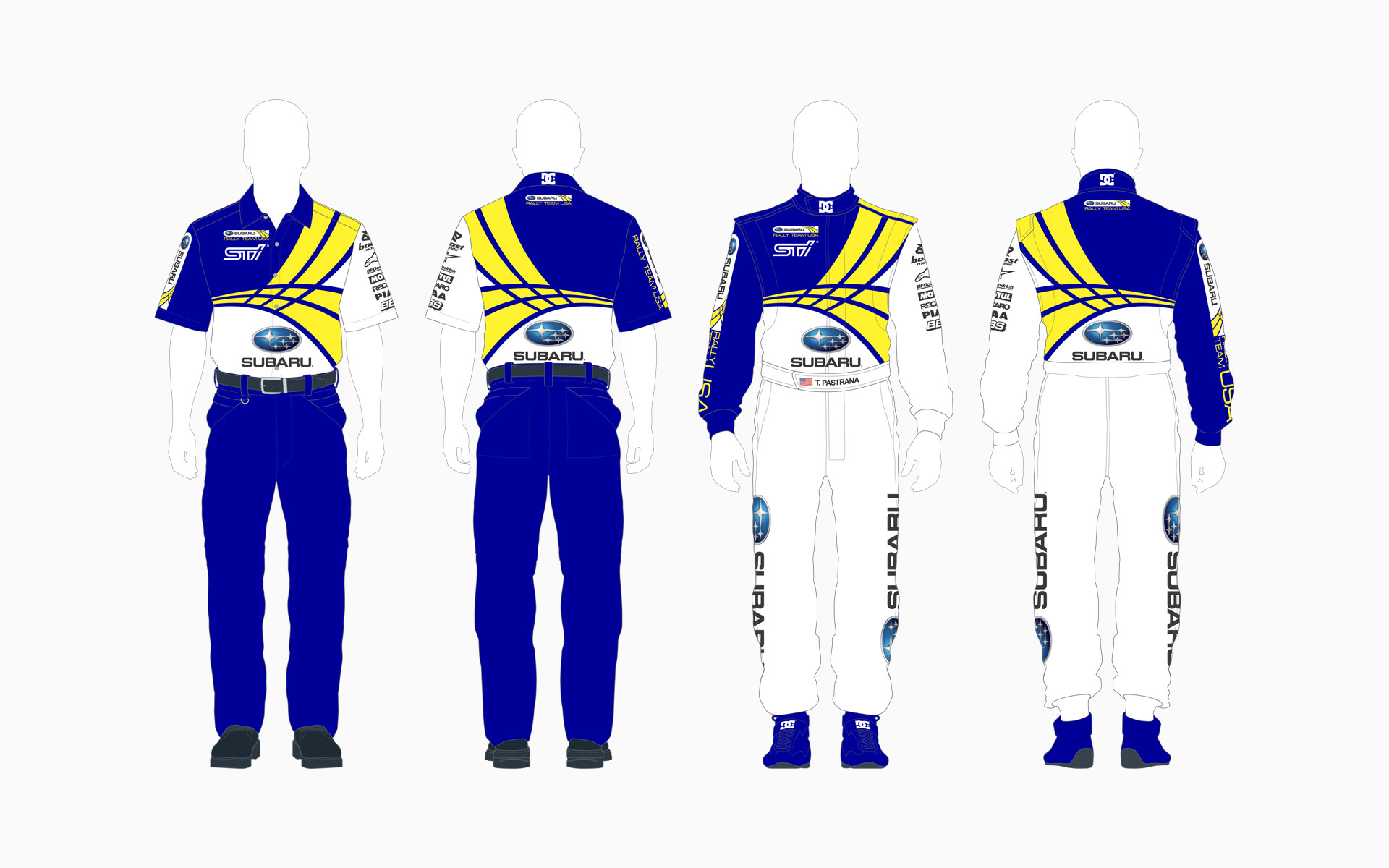 Subaru Rally Team USA Crew Shirt and Firesuit
