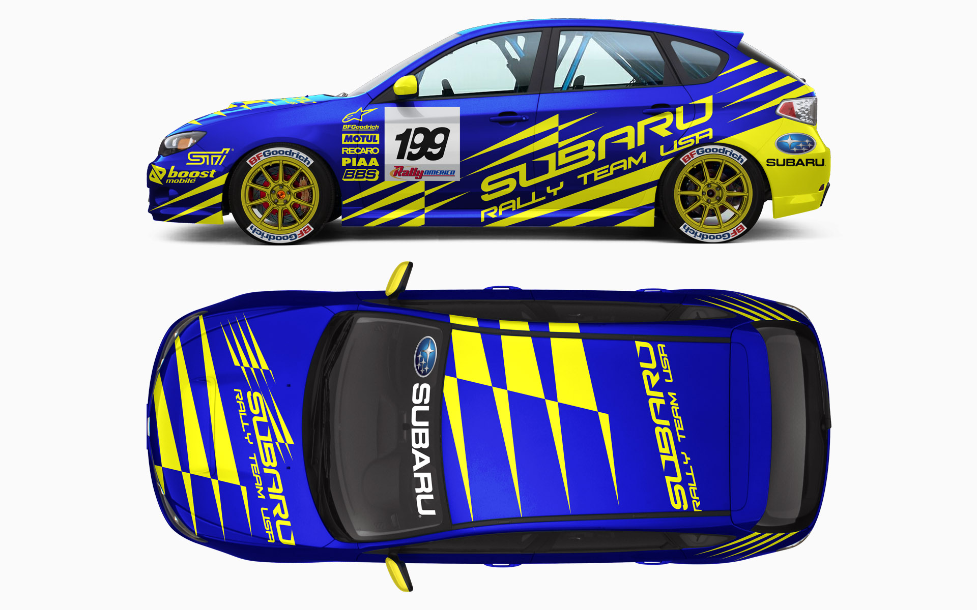 Subaru Rally Team USA WRX STi Rally Livery Visualization