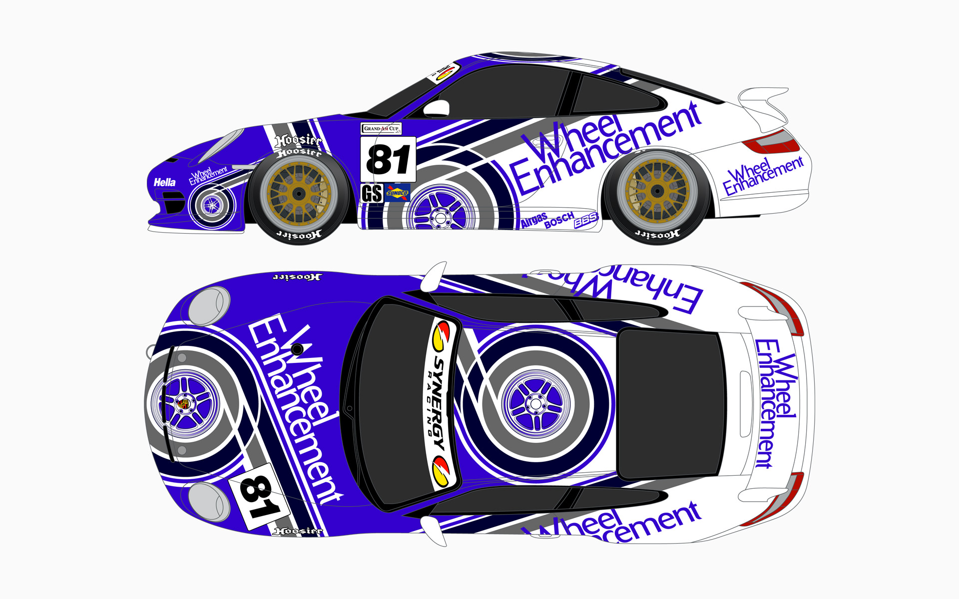 2006 Synergy Racing Wheel Enhancement Porsche 911 GT3 Cup Livery Elevations