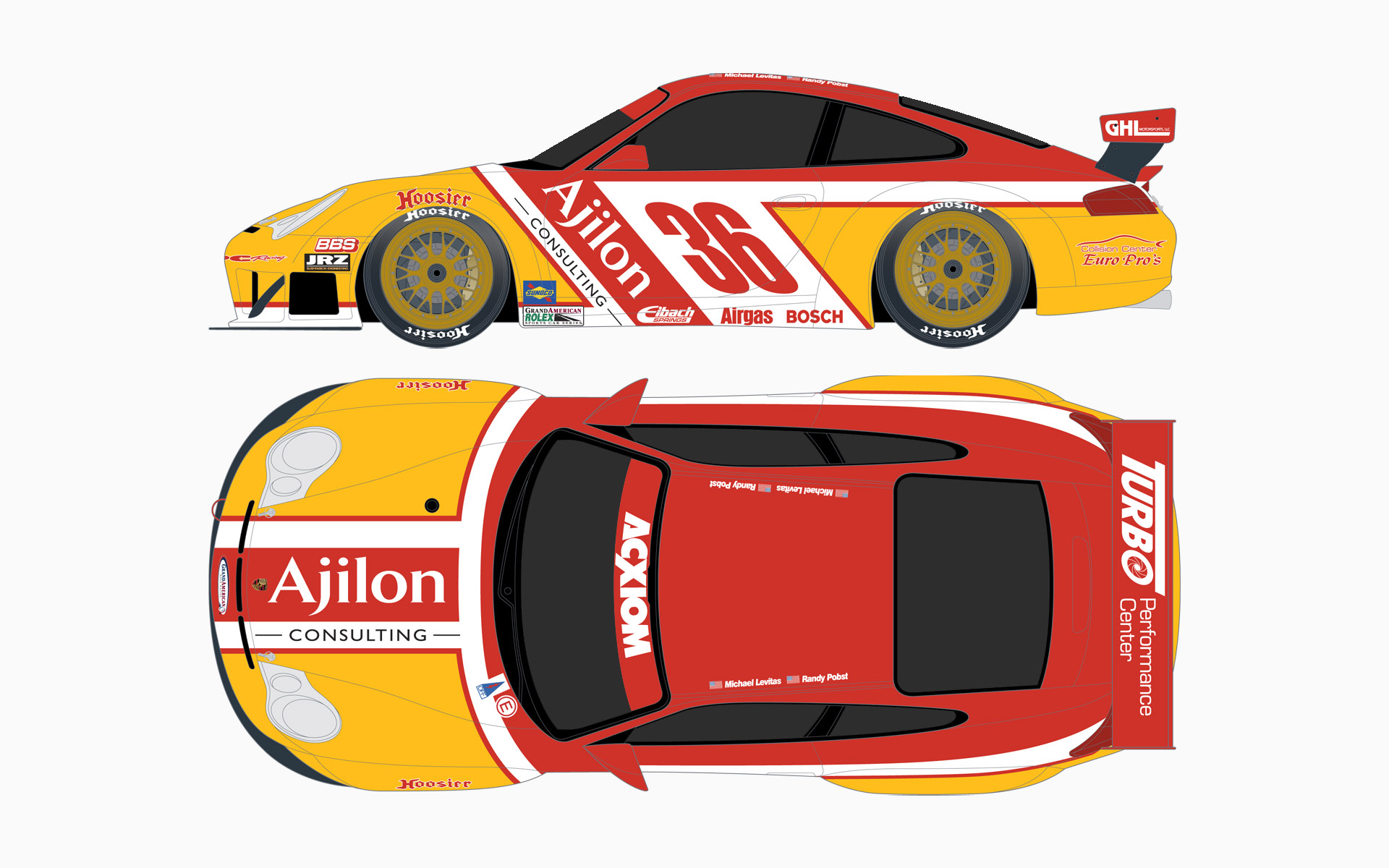 2005 TPC Racing Ajilon Consulting Porsche 911 GT3RS GT Livery Elevations