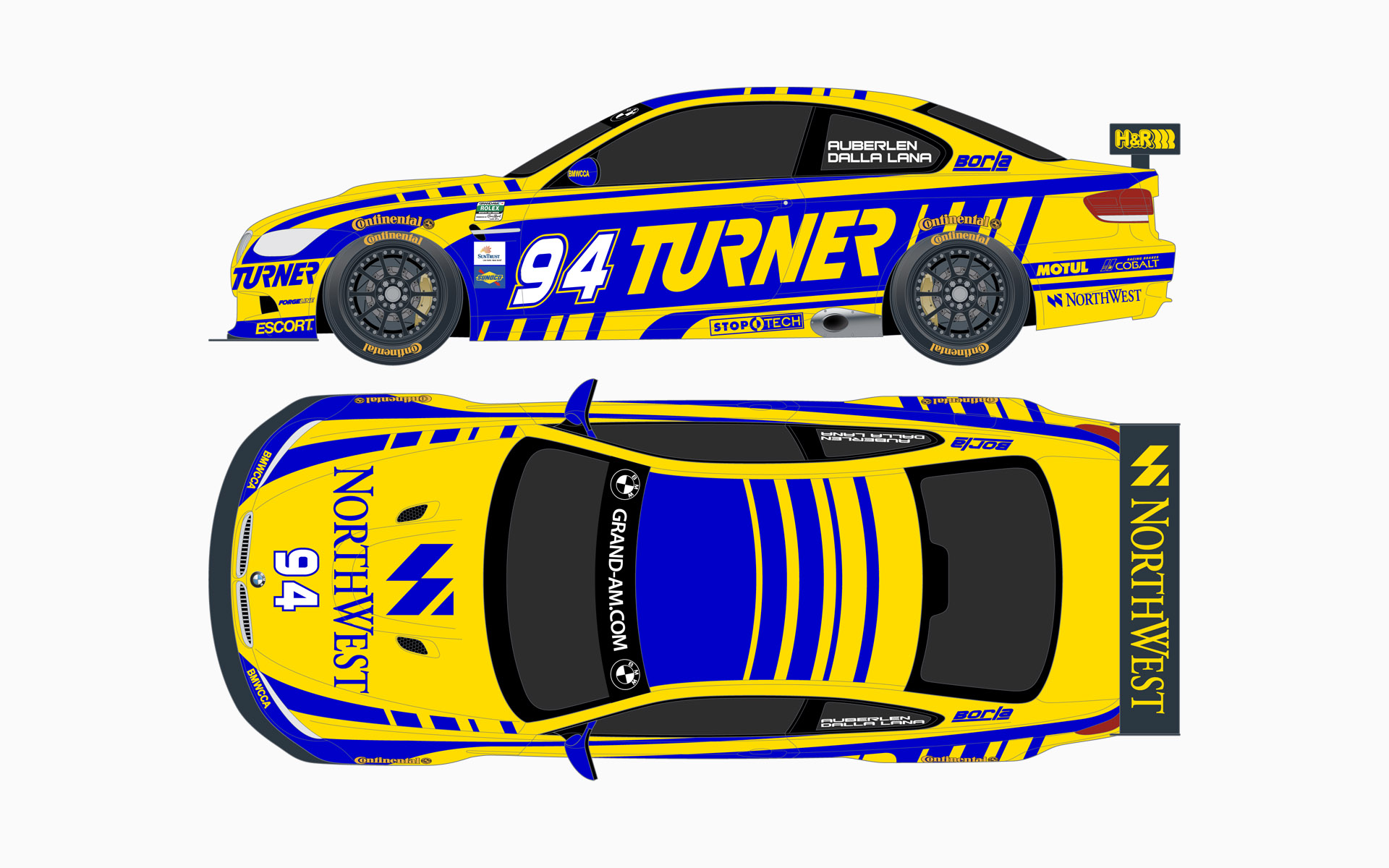 2010 Turner Motorsport BMW M3 GT Livery Elevations