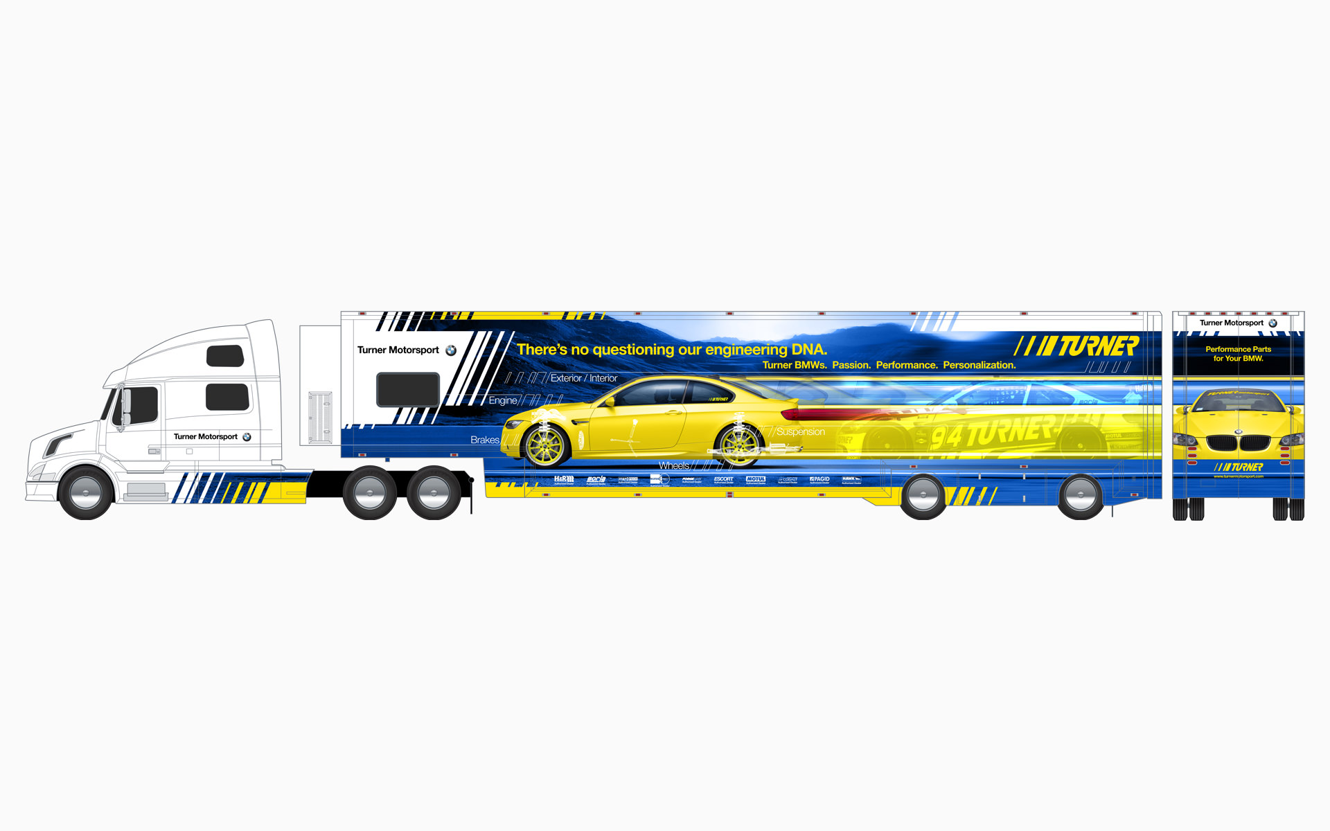 Turner Motorsport BMW Transporter Livery Elevations
