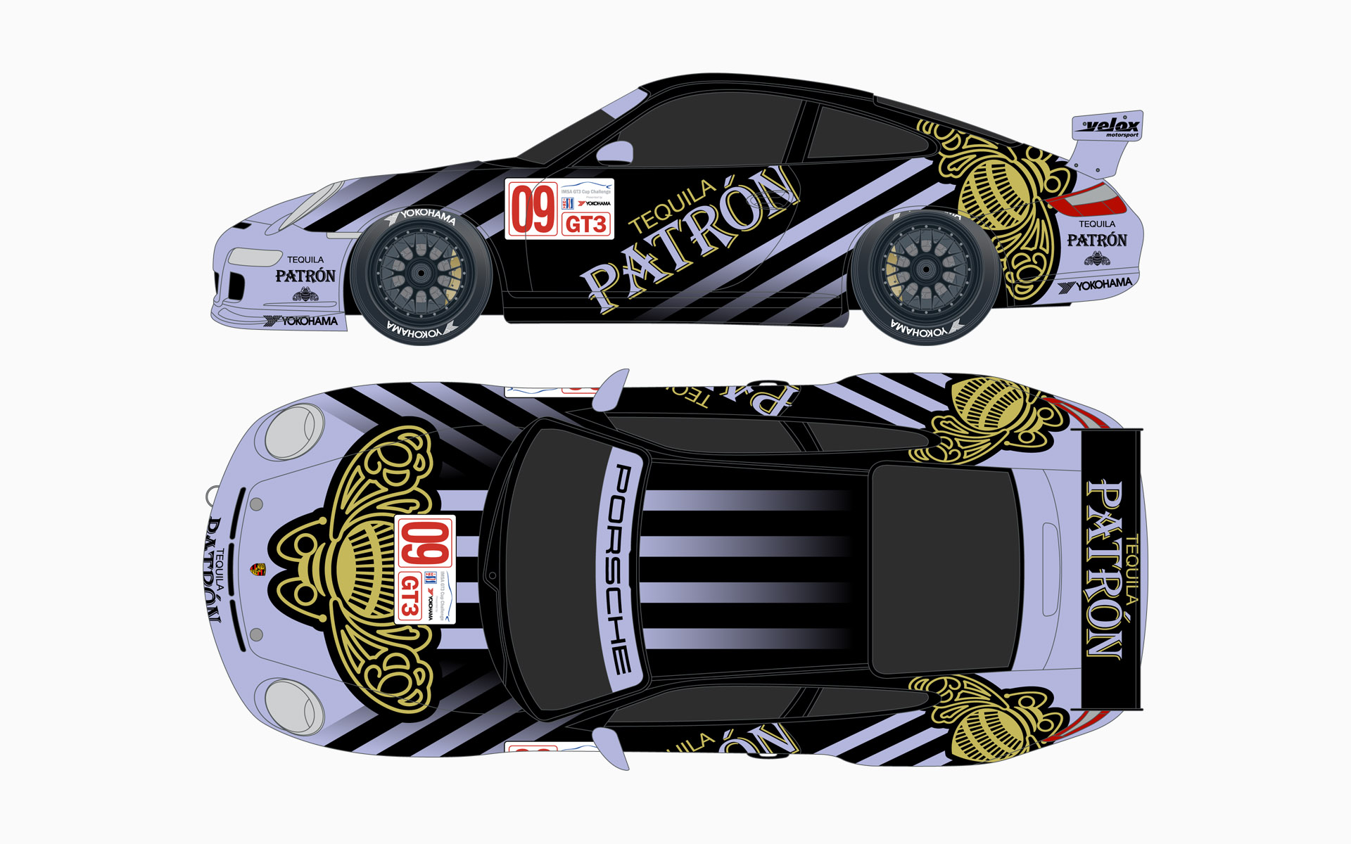 Velox Motorsport Pu00e1tron XO Cafe Porsche 911 GT3 Cup Livery Elevations