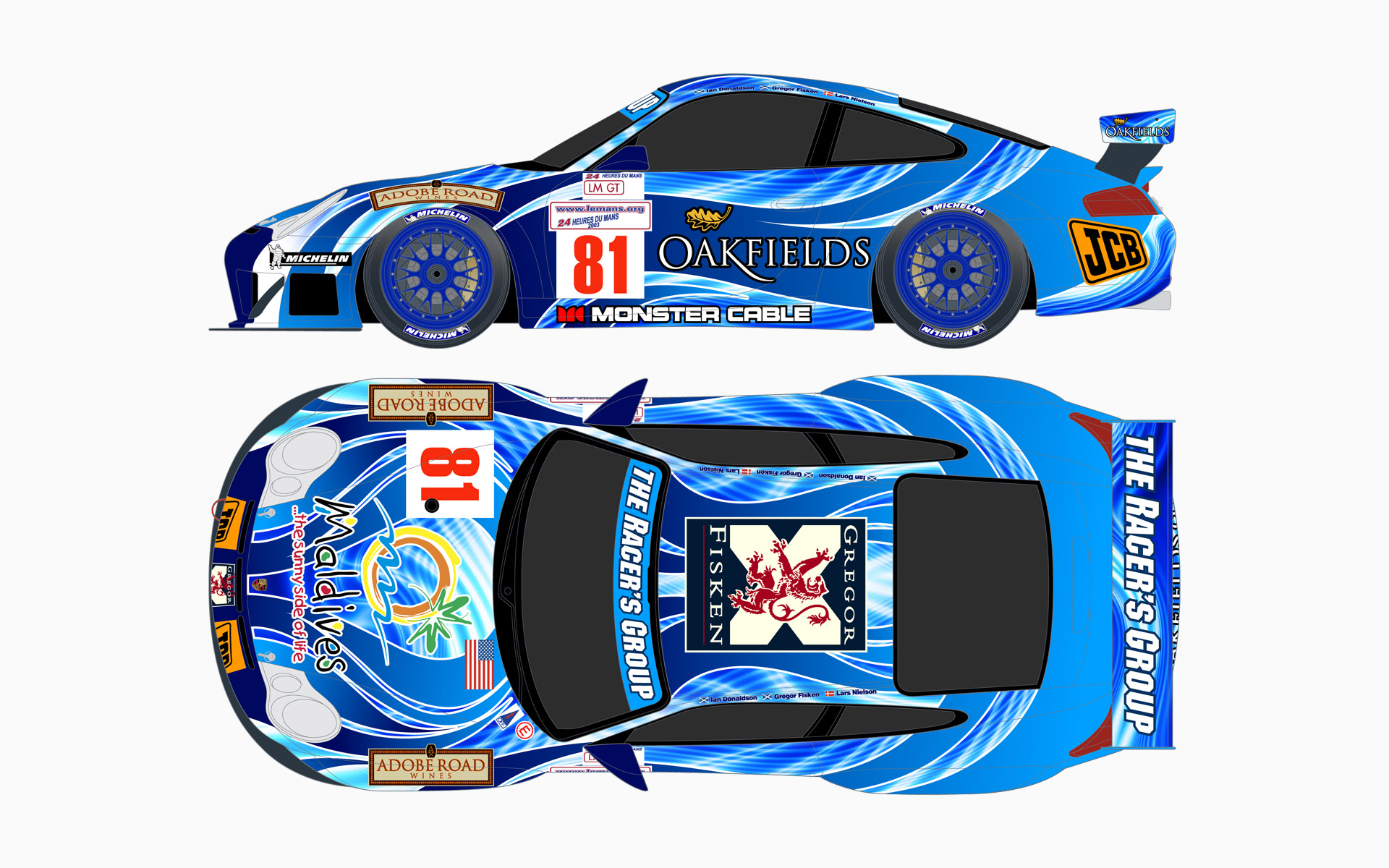 TRG Le Mans Porsche 911 GT3RS GT Livery Elevations