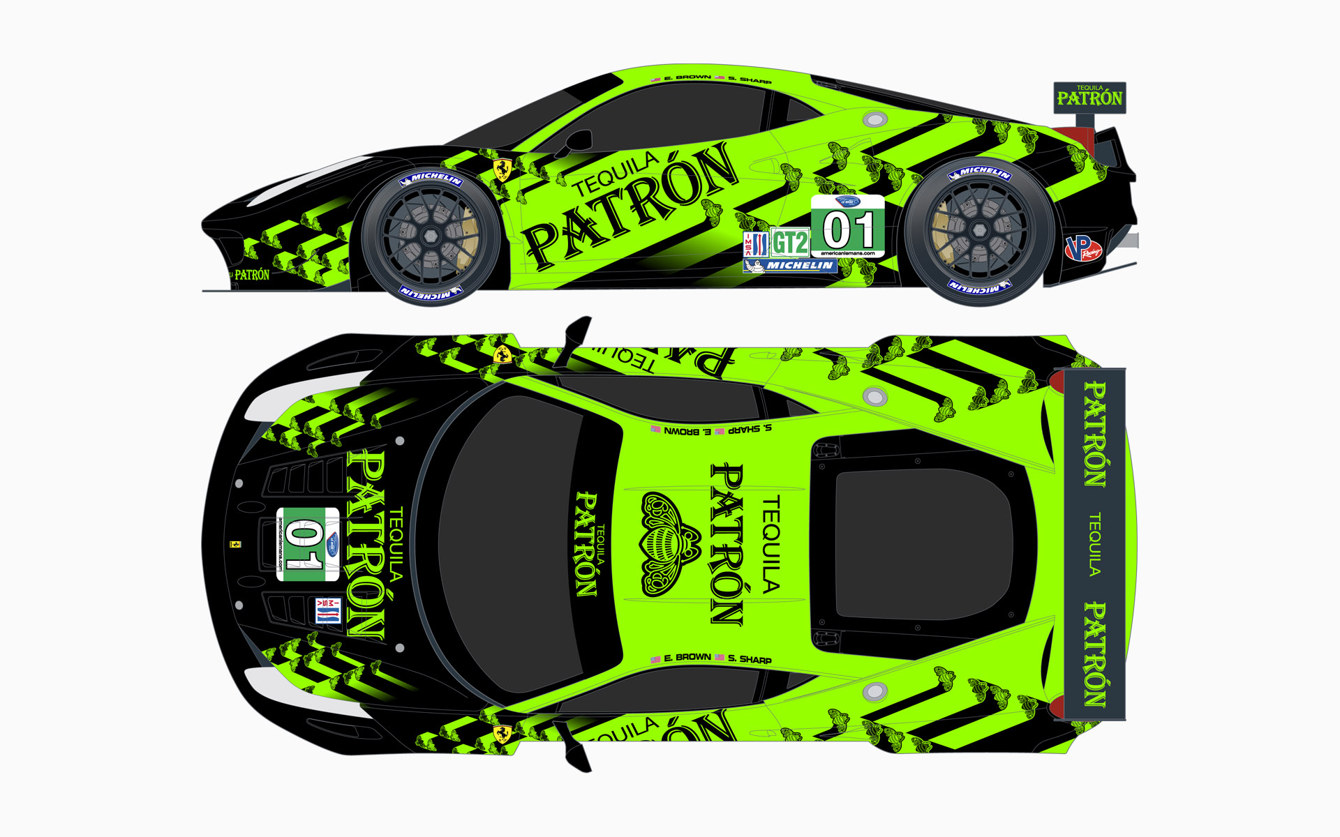 2011 Extreme Speed Motorsports Pátron Ferrari 458 GT Livery Elevations