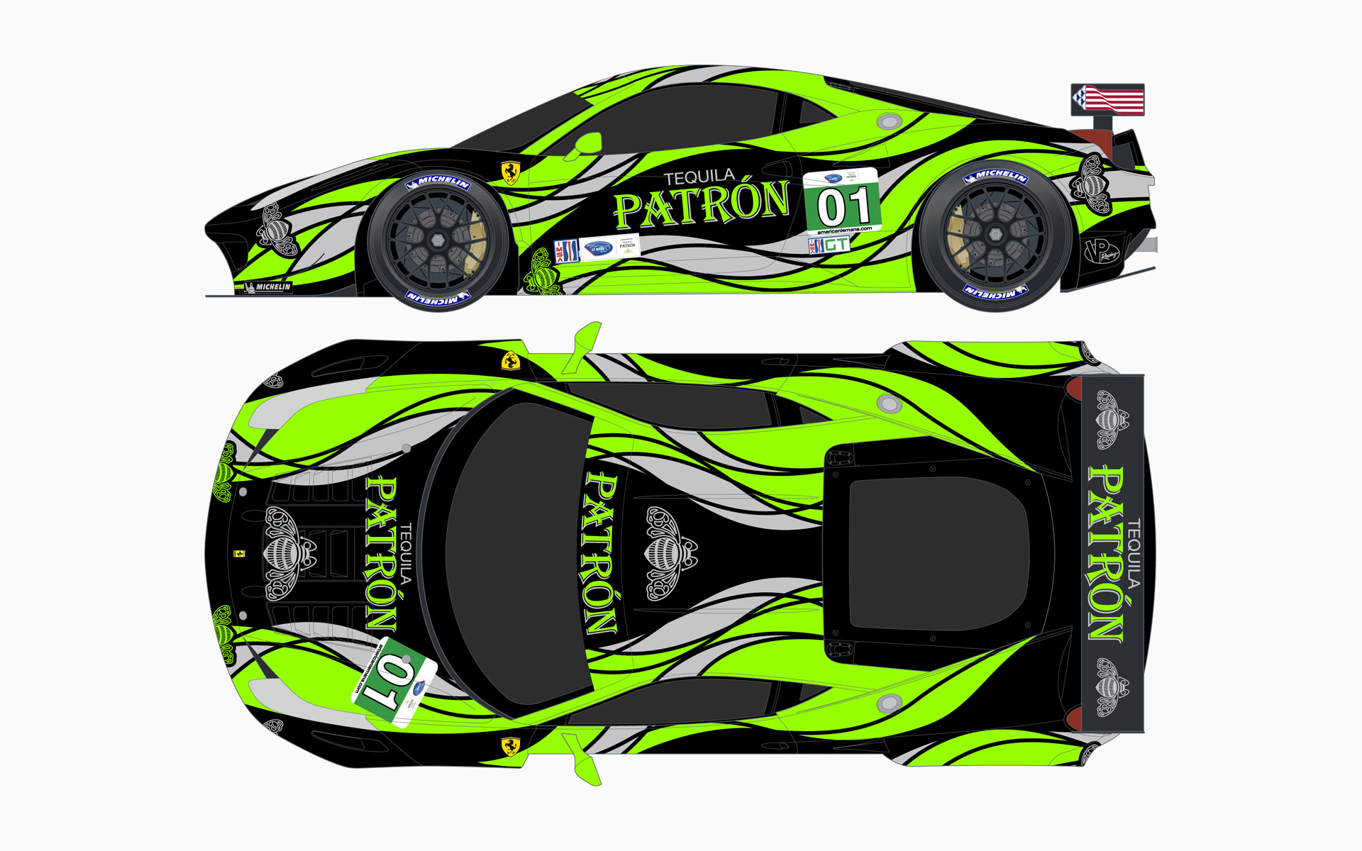 2013 Extreme Speed Motorsports Pátron Ferrari 458 GT Livery Elevations
