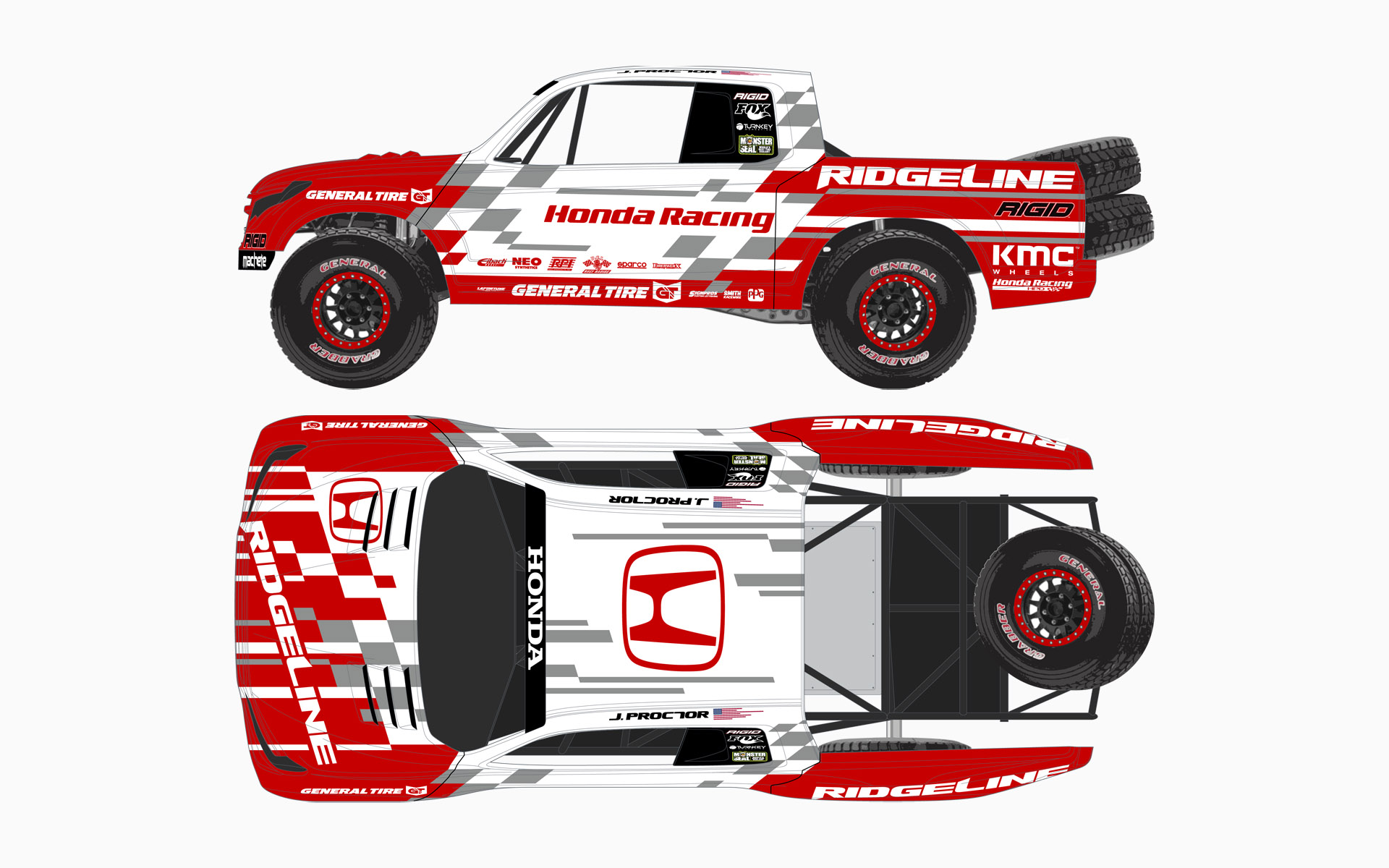 2016 Honda Off-Road HPD Ridgeline SCORE Baja Trophy Truck Livery Elevations