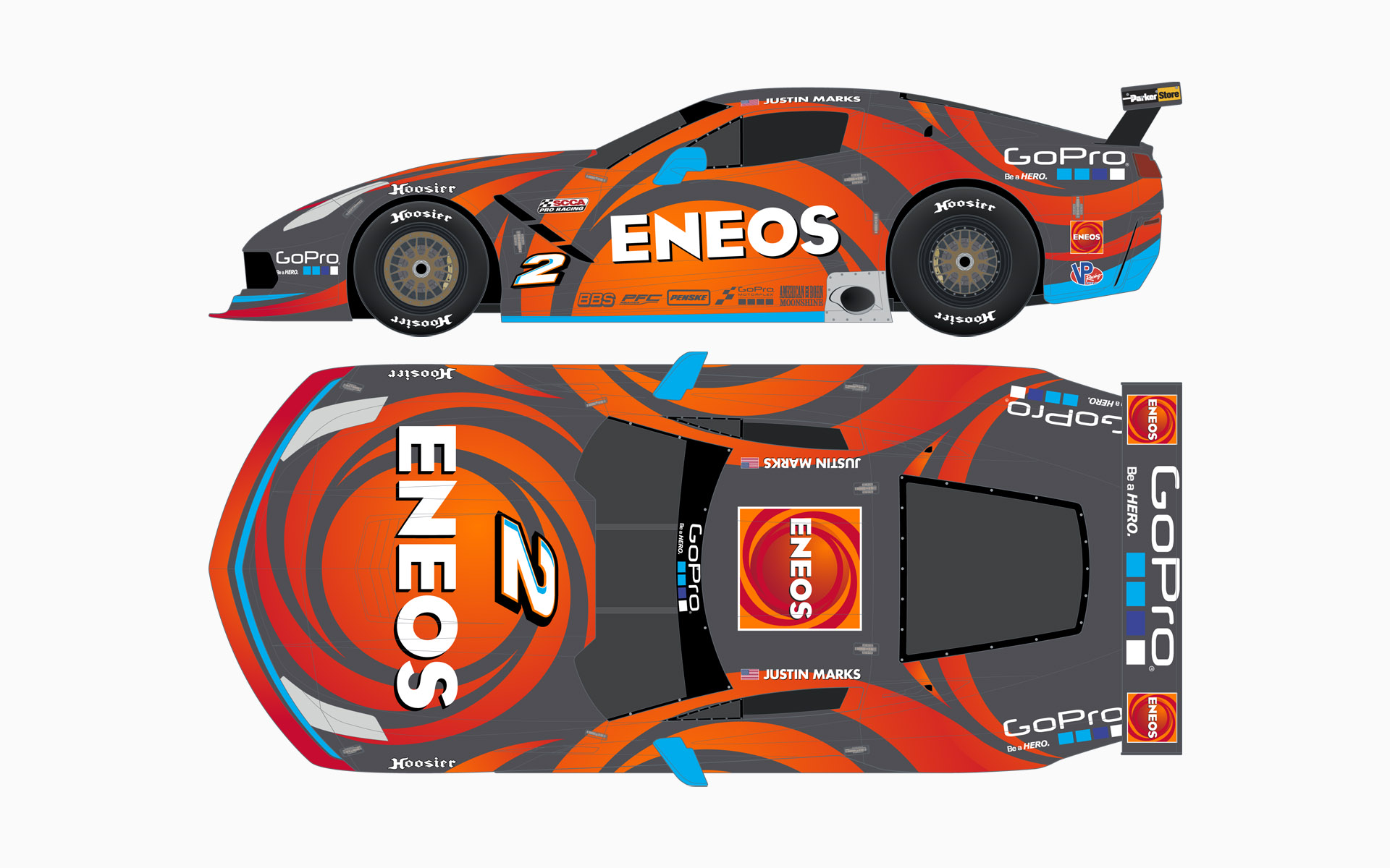2016 Justin Marks Racing Eneos Corvette C7.R Trans-Am Livery Elevations