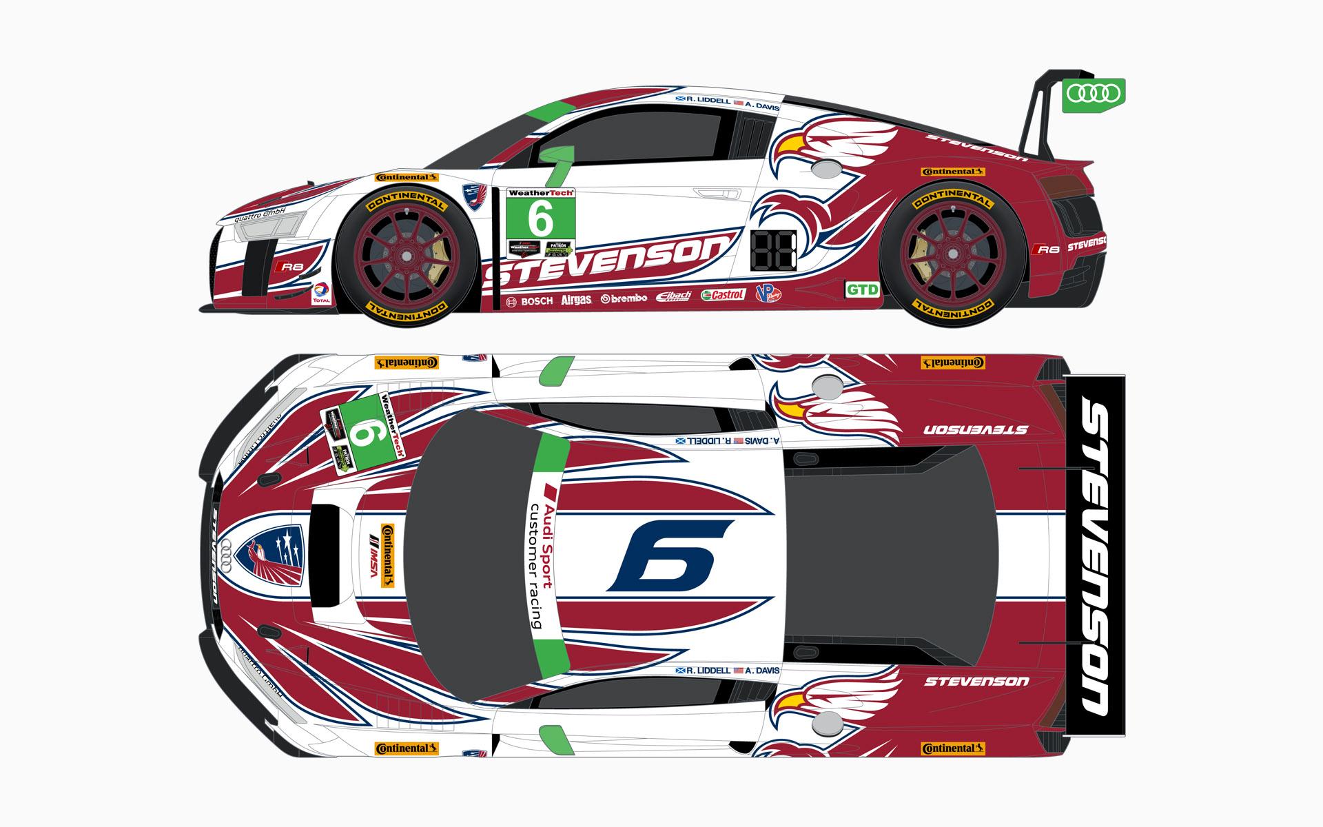 2016 Stevenson Motorsports Audi R8 LMS GT3 Livery Elevations