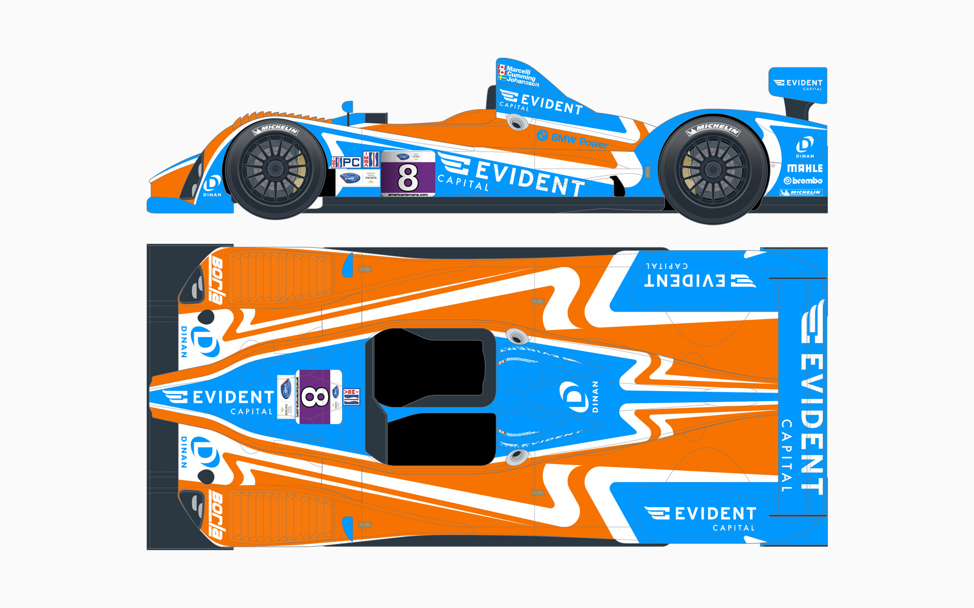 2013 Evident Capital Oreca LMPC Livery Elevations