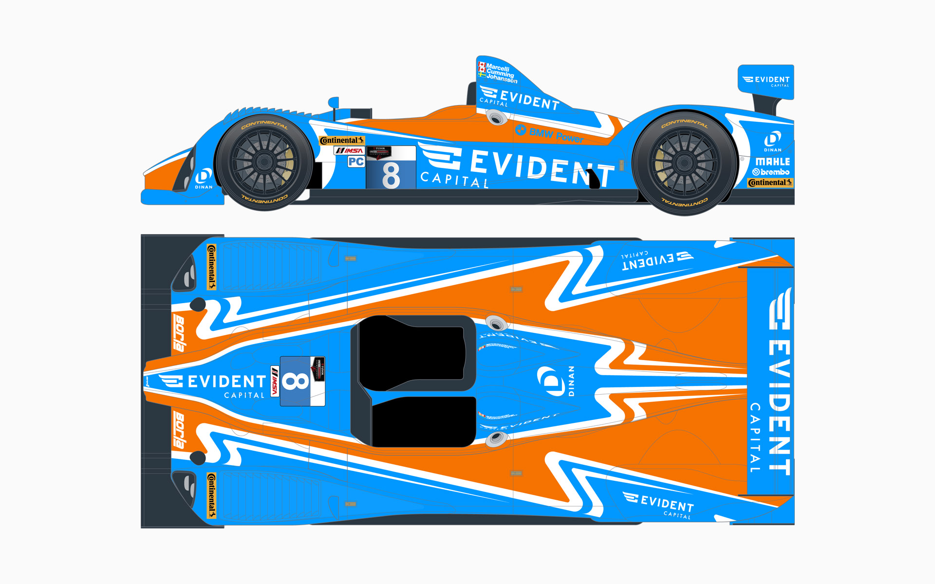 2014 Evident Capital Oreca LMPC Livery Elevations