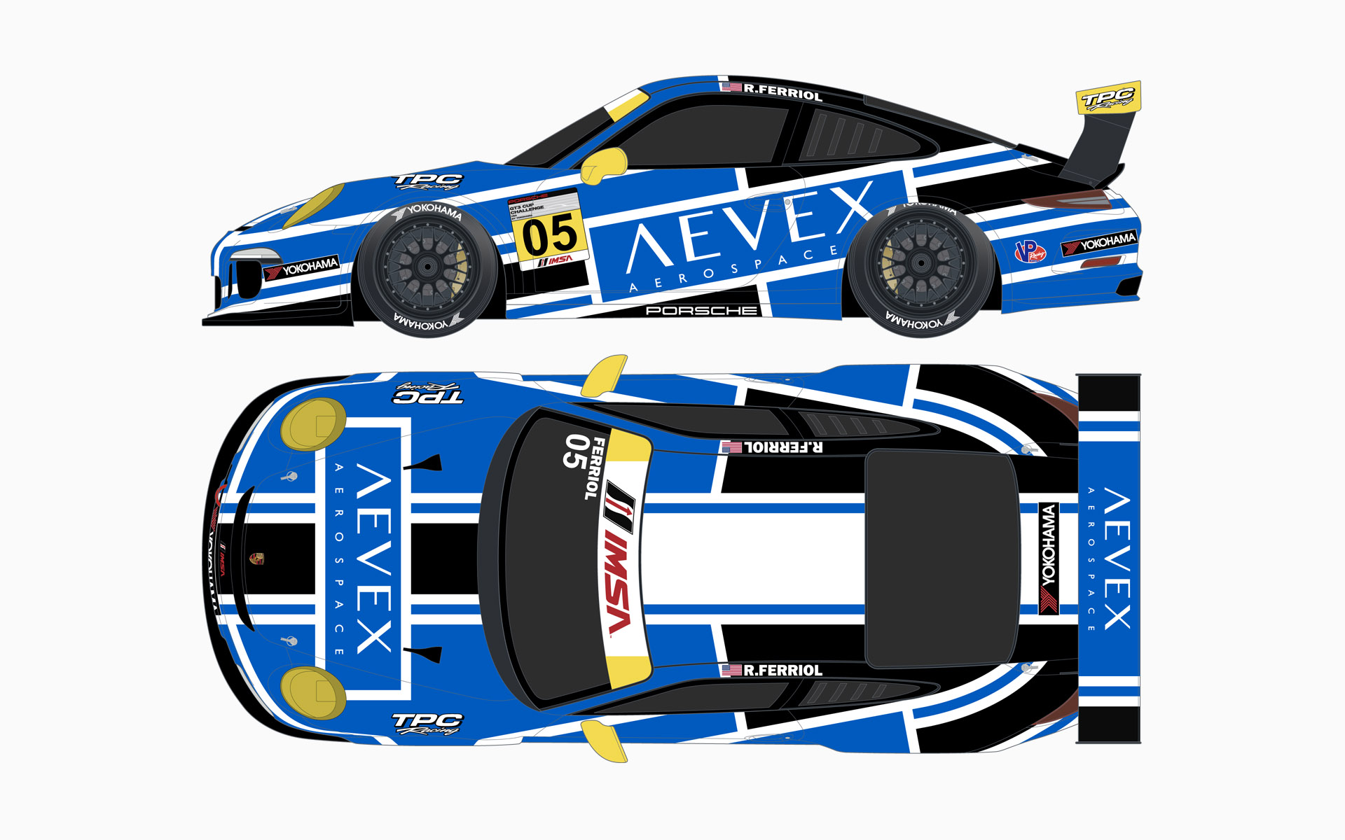 TPC Racing Aevex Aerospace Porsche 911 GT3 Cup Livery Elevations