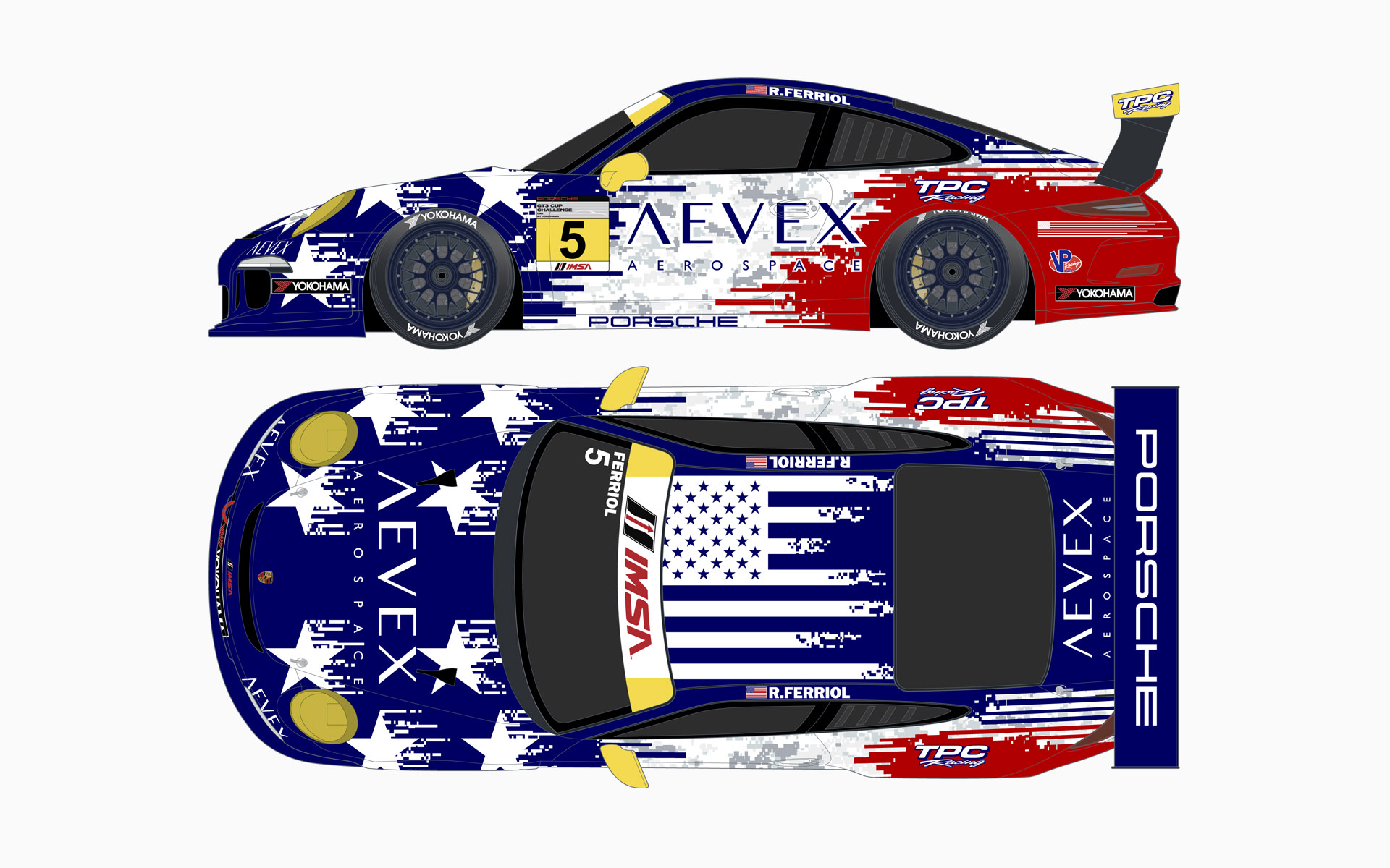 TPC Racing Aevex Aerospace July 4th Porsche 911 GT3 Cup Livery Elevations