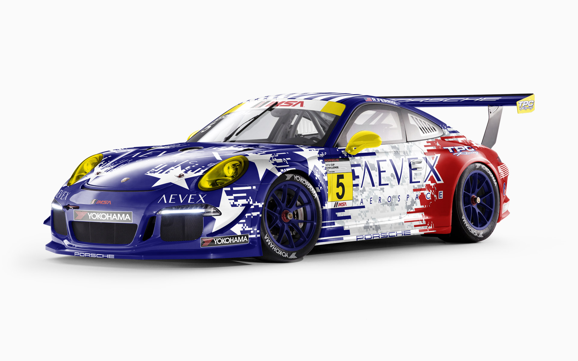 TPC Racing Aevex Aerospace July 4th Porsche 911 GT3 Cup Livery Visualization